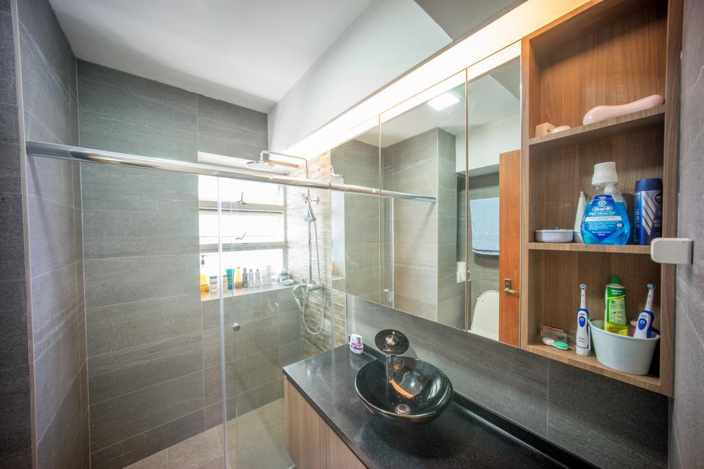 Minimalistic, HDB, Bathroom, Compassvale Drive (Block 275A), Interior Designer, Team Interior Design, Shelf, Closet, Cupboard, Furniture, Tile