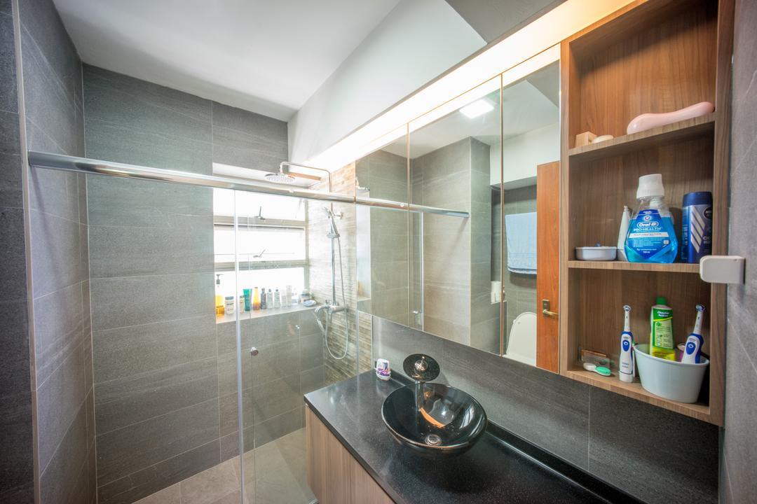 Compassvale Drive (Block 275A), Team Interior Design, Minimalistic, Bathroom, HDB, Shelf, Closet, Cupboard, Furniture, Tile