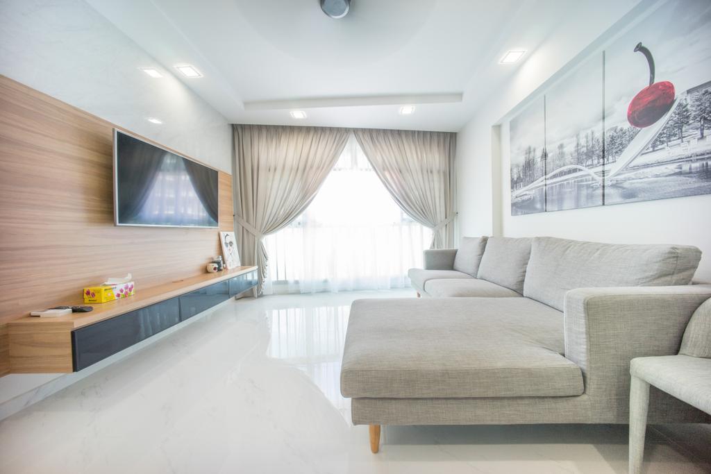 Minimalistic, HDB, Living Room, Compassvale Drive (Block 275A), Interior Designer, Team Interior Design, Couch, Furniture