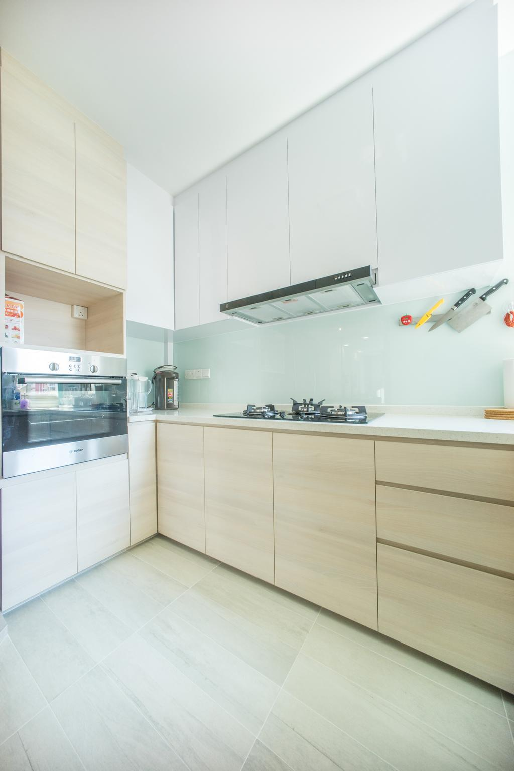 Minimalistic, HDB, Kitchen, Compassvale Drive (Block 275A), Interior Designer, Team Interior Design, Shelf
