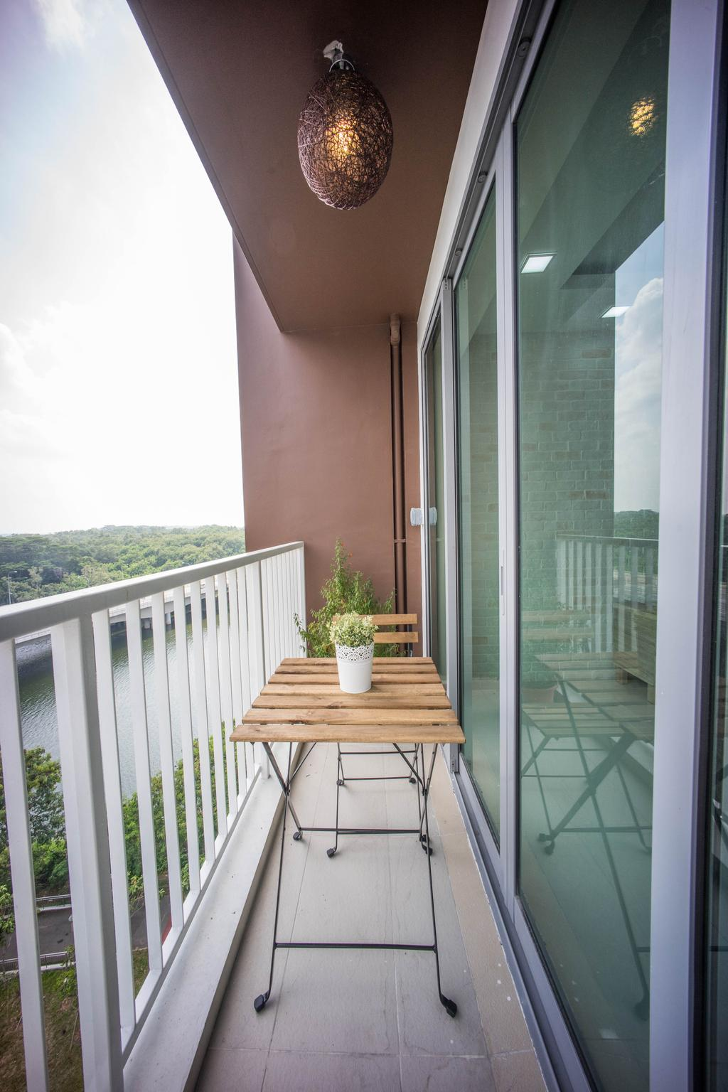 Contemporary, HDB, Balcony, Hougang Capeview (Block 477C), Interior Designer, Team Interior Design, Porch, Flora, Jar, Plant, Potted Plant, Pottery, Vase