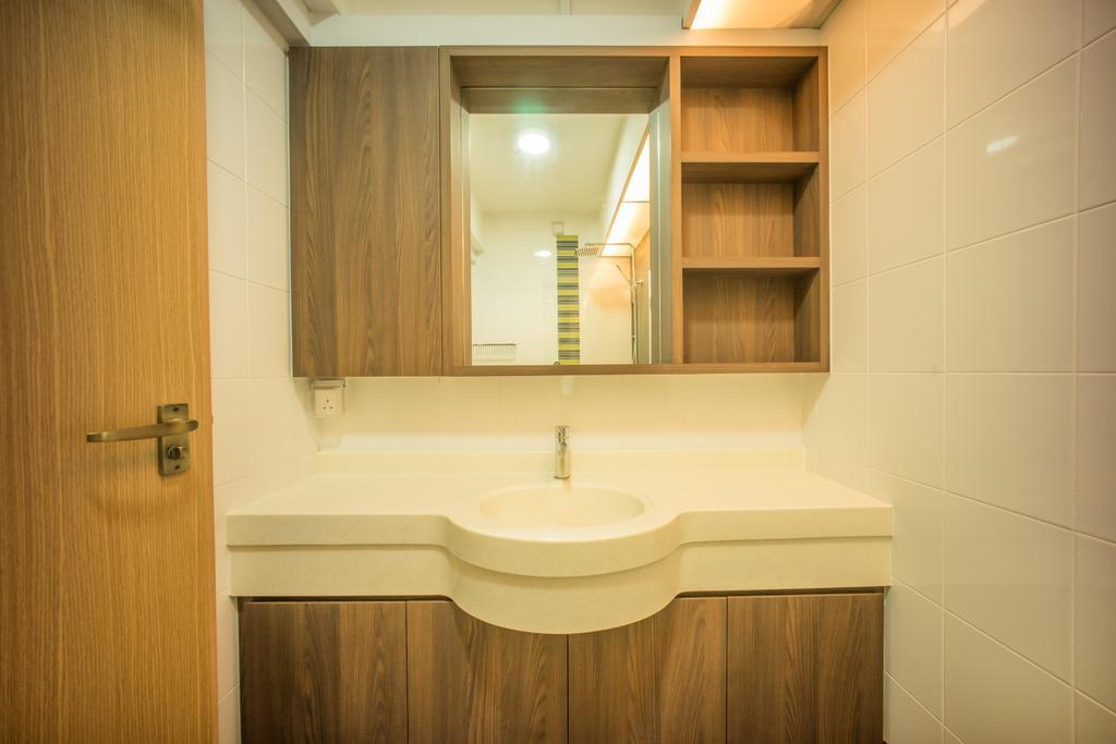 Contemporary, HDB, Bathroom, Punggol Drive (Block 677C), Interior Designer, Team Interior Design, Molding, Indoors, Interior Design, Room, Bookcase, Furniture, Corridor