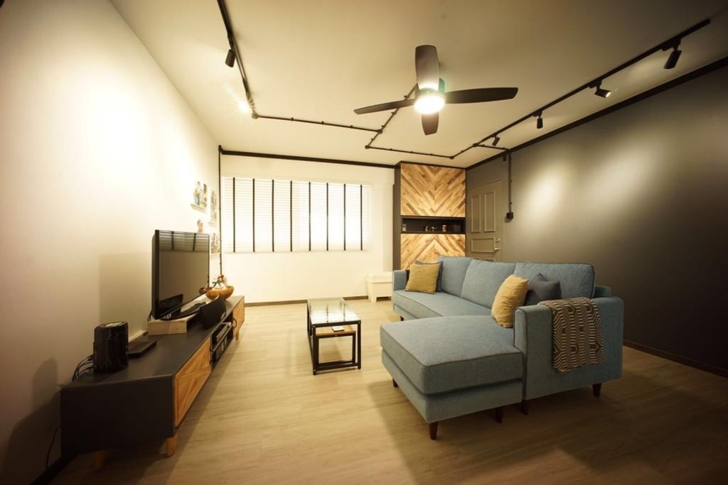 Industrial, HDB, Living Room, Bedok North Road (Block 706), Interior Designer, Team Interior Design, Couch, Furniture