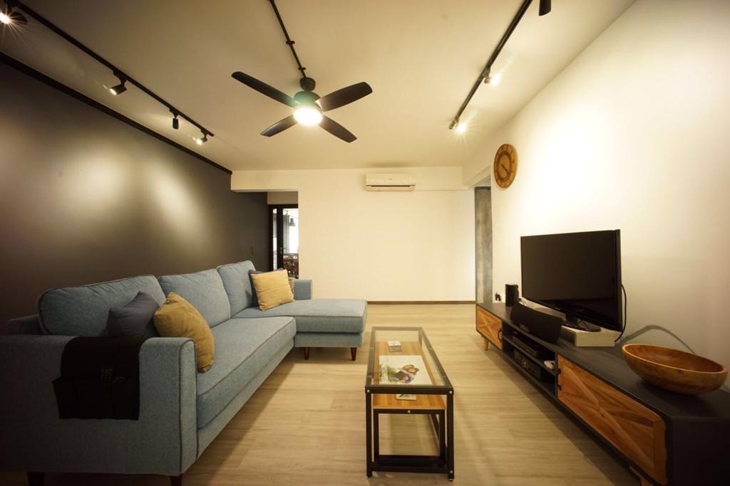 Industrial, HDB, Living Room, Bedok North Road (Block 706), Interior Designer, Team Interior Design, Couch, Furniture, Indoors, Interior Design