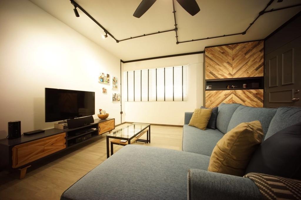 Industrial, HDB, Living Room, Bedok North Road (Block 706), Interior Designer, Team Interior Design, Couch, Furniture, Indoors, Room, Electronics, Entertainment Center, Home Theater
