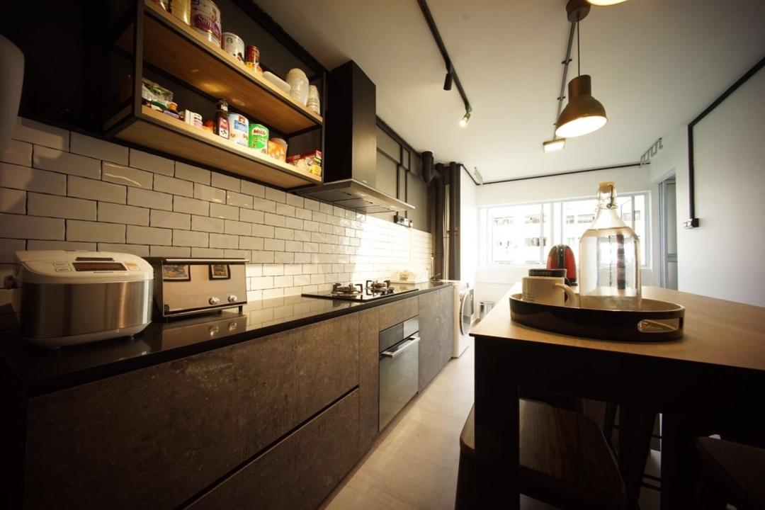 Bedok North Road (Block 706), Team Interior Design, Industrial, Kitchen, HDB, Light Fixture, Indoors, Interior Design, Lamp, Appliance, Electrical Device, Toaster