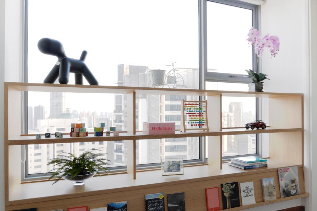 The Arc At Draycott, EHKA Studio, Contemporary, Study, Condo, Flora, Jar, Plant, Potted Plant, Pottery, Vase, Bookcase, Furniture, Shelf, Blossom, Cherry Blossom, Flower