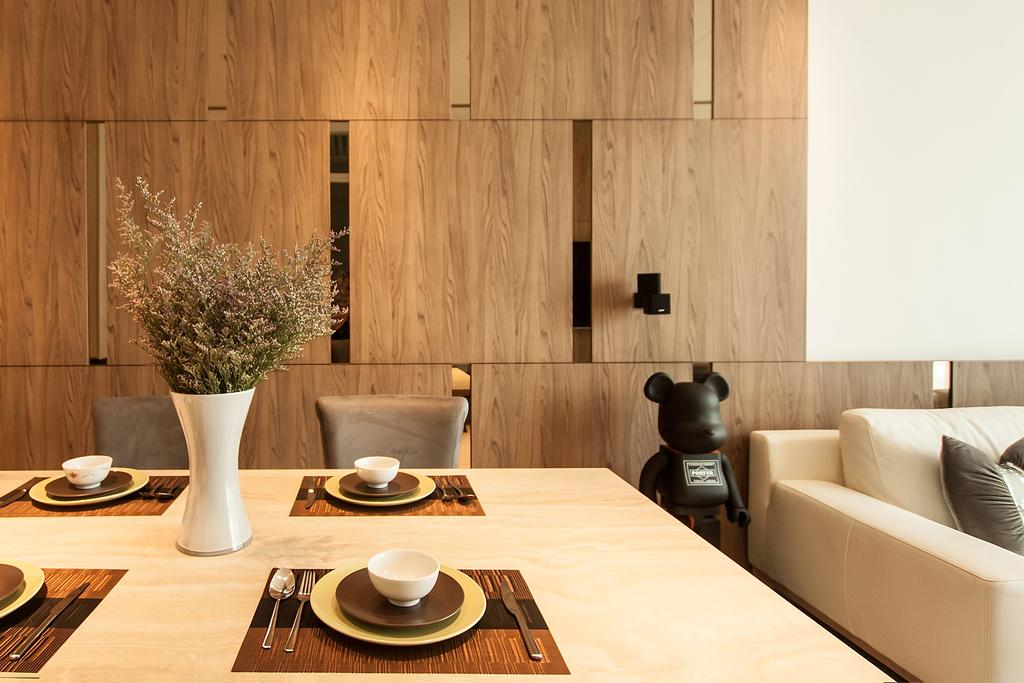 Modern, Condo, Dining Room, Cuscaden Residence, Interior Designer, Space Atelier, Scandinavian, Flora, Jar, Plant, Potted Plant, Pottery, Vase, Couch, Furniture, Indoors, Interior Design, Dining Table, Table, Cup