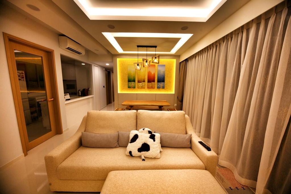 Contemporary, Condo, Living Room, Punggol, Interior Designer, Interior Diary, Couch, Furniture, Indoors, Room