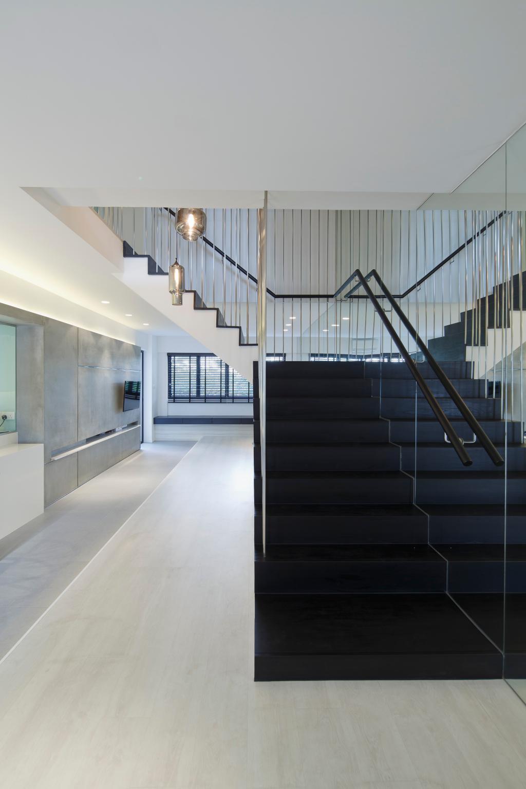 Modern, HDB, Cashew Road, Architect, EHKA Studio, Banister, Handrail, Staircase, Corridor, Light Fixture