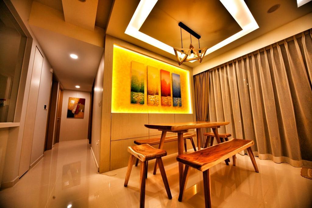 Contemporary, Condo, Dining Room, Punggol, Interior Designer, Interior Diary, Chair, Furniture, Indoors, Interior Design, Room, Corridor, Basement