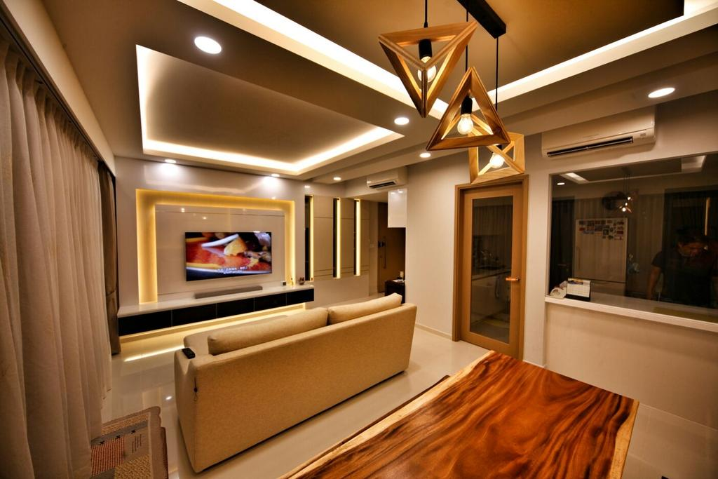 Contemporary, Condo, Living Room, Punggol, Interior Designer, Interior Diary, Lighting, Corridor, Indoors, Interior Design, Electronics, Entertainment Center, Home Theater