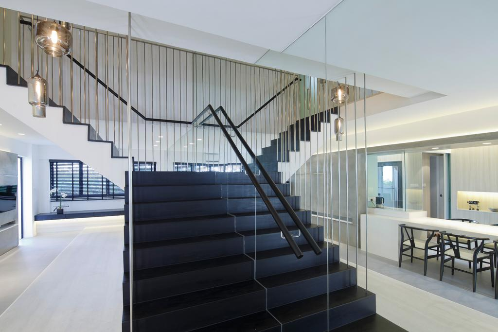 Modern, HDB, Cashew Road, Architect, EHKA Studio, Dining Table, Furniture, Table, Banister, Handrail, Staircase