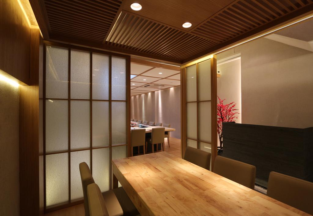 Sushi Mitsuya Restaurant, Commercial, Architect, EHKA Studio, Minimalistic, Plywood, Wood, Conference Room, Indoors, Meeting Room, Room, Dining Room, Interior Design