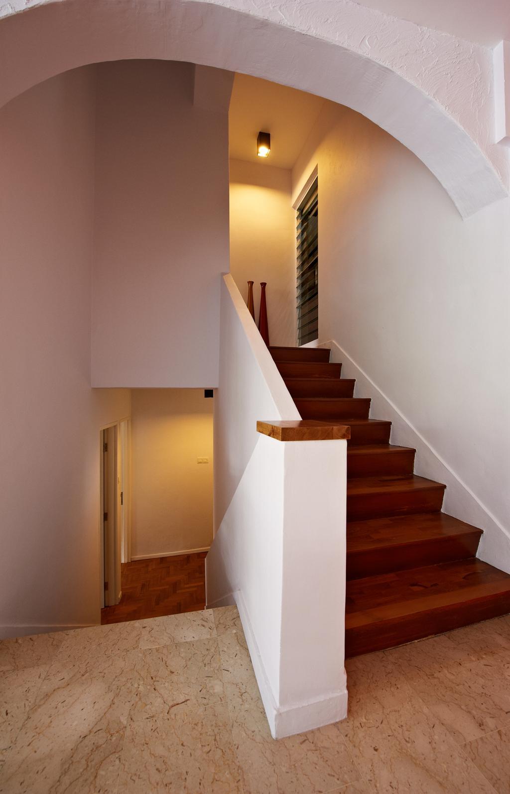 Contemporary, Condo, Hillcrest Arcadia, Interior Designer, Seven Heaven, Banister, Handrail, Staircase, HDB, Building, Housing, Indoors, Loft