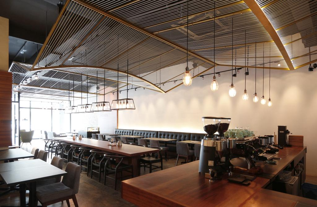 The Brew Orchestra, Commercial, Architect, EHKA Studio, Industrial, Appliance, Electrical Device, Oven, Dining Table, Furniture, Table, Cafe, Restaurant