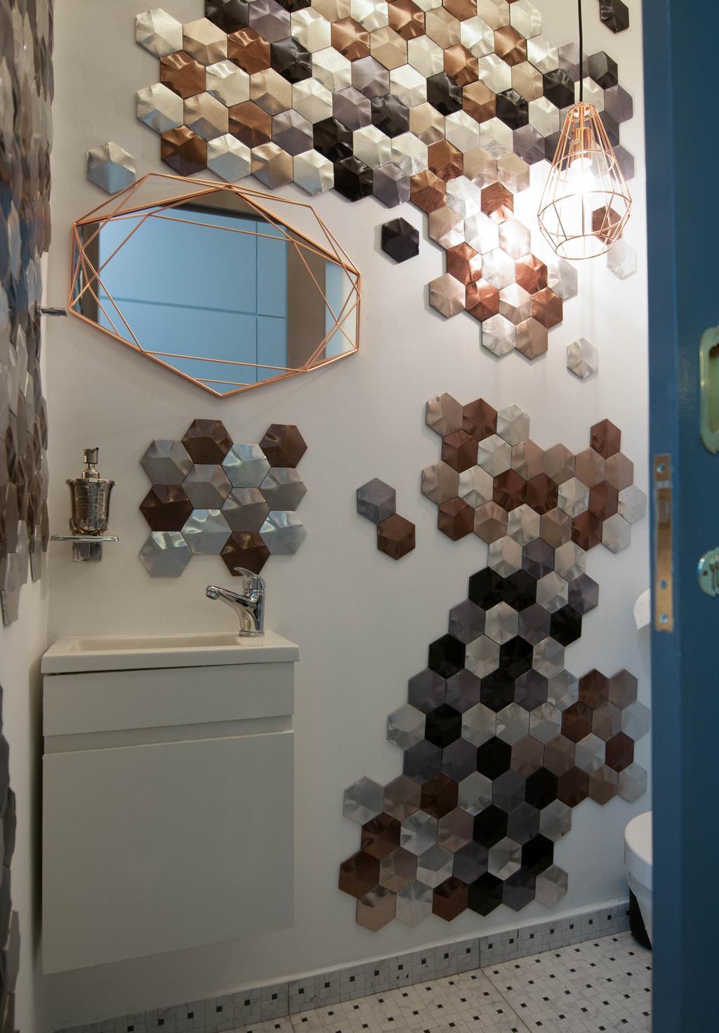 Modern, Condo, Bathroom, The Summit, Interior Designer, Seven Heaven, Art, Origami, Paper