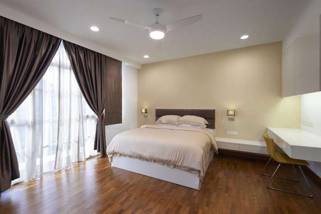 Minimalist, Landed, Bedroom, Burgundy (Bukit Batok), Interior Designer, Spire Id, Wooden Flooring, Parquet, Curtains, Study Table, Chairs, King Size Bed, Ceiling Fan, Recessed Lights, Cozy, Cosy, Spacious, Curtain, Home Decor, Indoors, Interior Design, Room