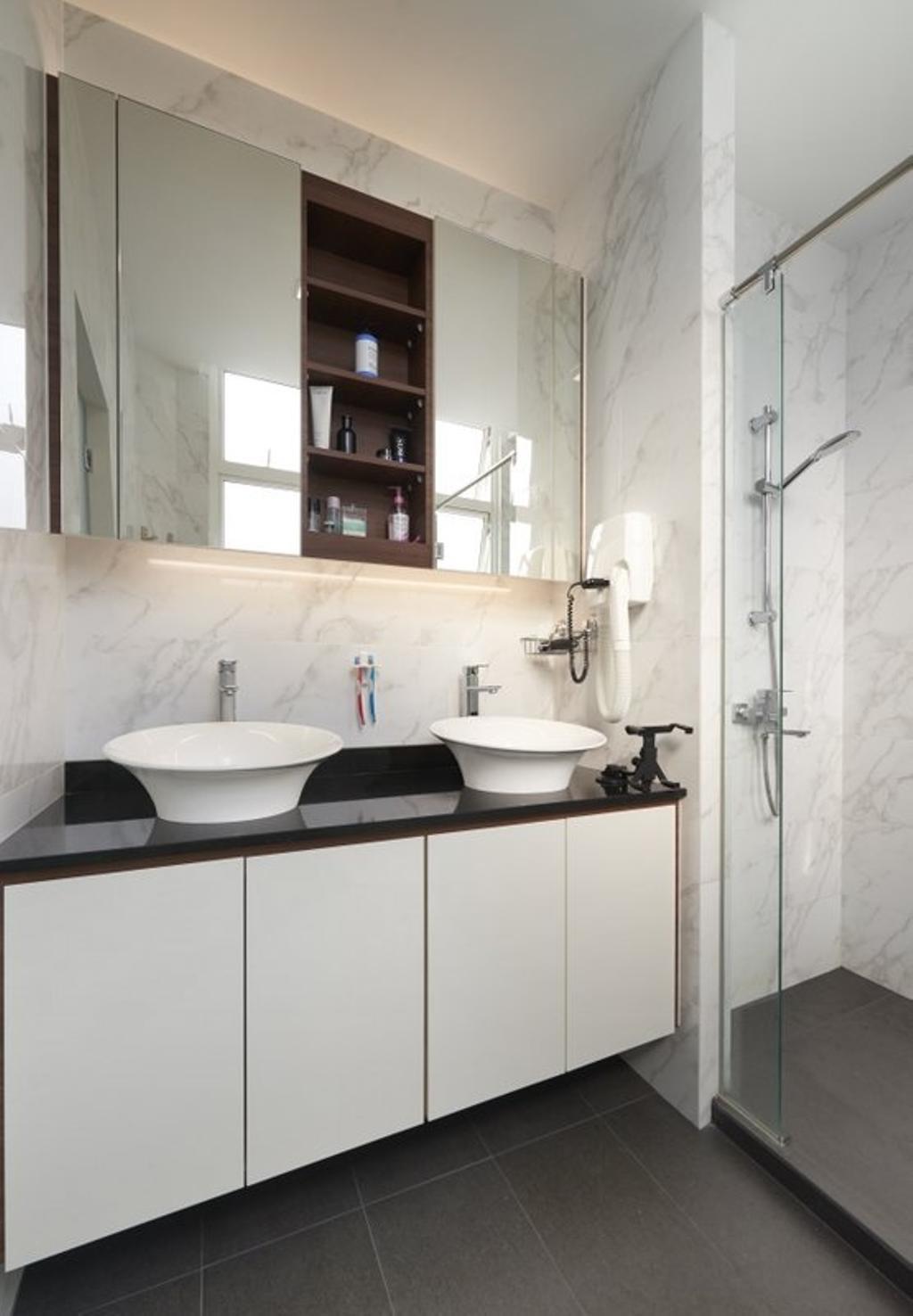 Minimalist, Landed, Bathroom, Burgundy (Bukit Batok), Interior Designer, Spire Id, Bathroom Vanities, Double Sink, Monochrome, Marble, Bathroom Tiles, Sink, Indoors, Interior Design, Room, Coffee Table, Furniture, Table