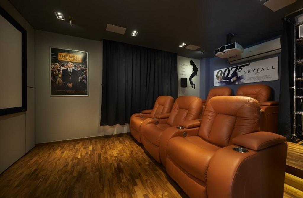 Minimalistic, Landed, Burgundy (Bukit Batok), Interior Designer, Spire Id, Av Room, Home Theater, Home Cinema, Wooden Flooring, Parquet, Wall Art, Wall Painting, Wall Decor, Art, Art Gallery