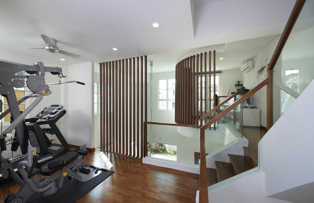 Minimalist, Landed, Burgundy (Bukit Batok), Interior Designer, Spire Id, Staircase, Gym, Wooden Flooring, Parquet, Wooden Beams, Banister, Handrail