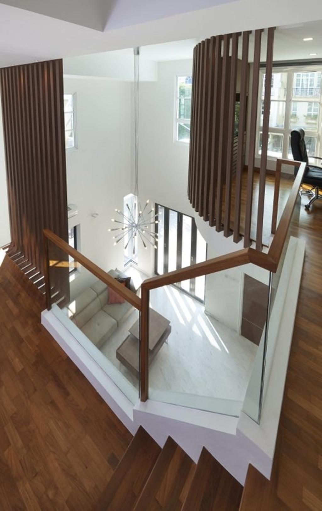 Minimalistic, Landed, Burgundy (Bukit Batok), Interior Designer, Spire Id, Wooden Flooring, Parquet, Wooden Beams, Wooden Partition, Partition, Staircase, Mirror, Banister, Handrail