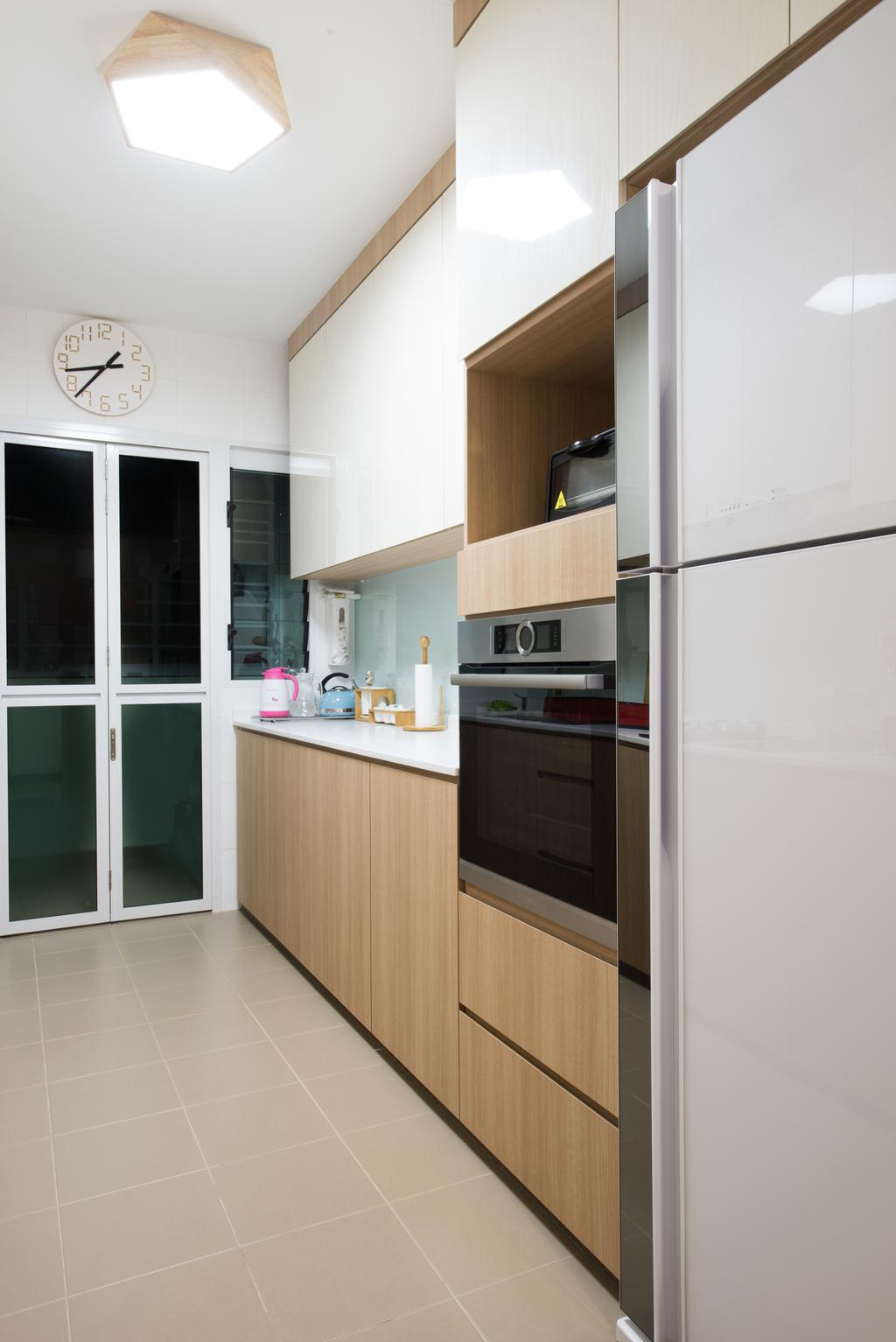 Modern, HDB, Kitchen, Sengkang East (Block 281B), Interior Designer, Glamour Concept, Scandinavian, Appliance, Electrical Device, Oven, Indoors, Interior Design, Room, Fridge, Refrigerator