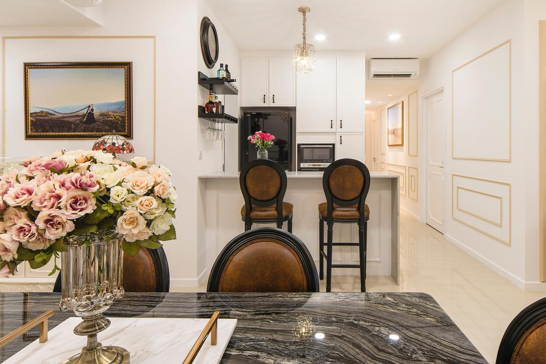 Sea Horizon (Block 3), Cozy Ideas Interior Design, Vintage, Dining Room, Condo, Chair, Furniture, Indoors, Interior Design, Room, Art, Blossom, Flora, Floral Design, Flower, Graphic Design, Ornament, Plant, Rose