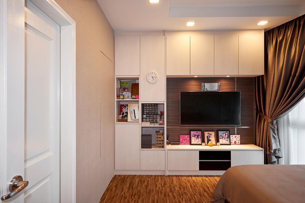 Modern, Condo, Bedroom, Trellis Tower, Interior Designer, Weiken.com, Electronics, Entertainment Center, Curtain, Home Decor, Indoors, Interior Design