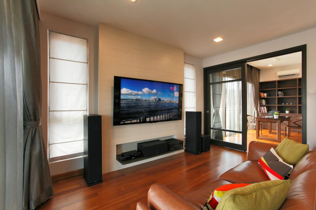 Contemporary, Landed, Living Room, Hillview, Interior Designer, Habitat One, Couch, Furniture, Electronics, Lcd Screen, Monitor, Screen
