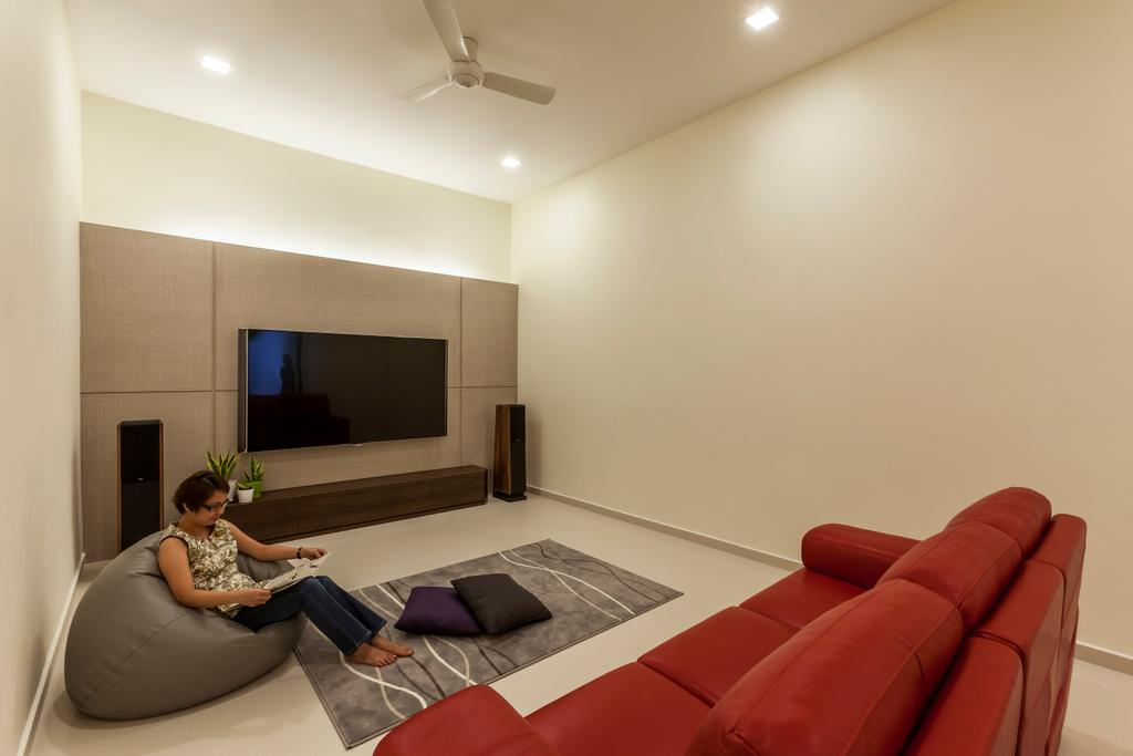 Contemporary, Landed, Living Room, Hillview Avenue, Interior Designer, Habitat One, Couch, Furniture, Electronics, Entertainment Center, Home Theater