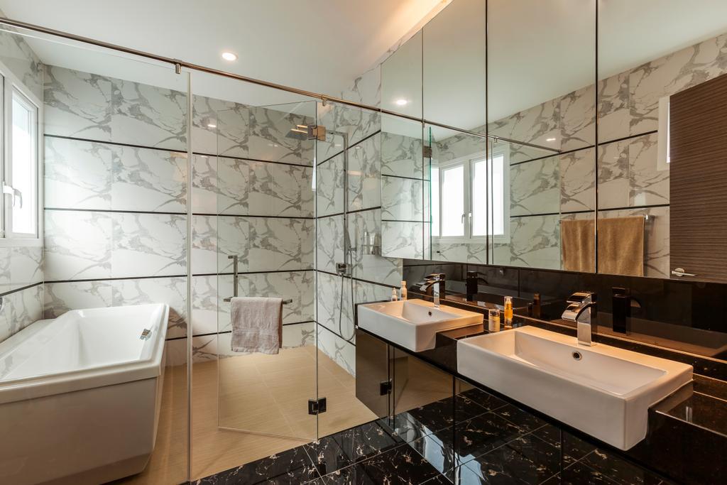 Contemporary, Landed, Bathroom, Lorong Tanggam, Interior Designer, Habitat One, Sink, Indoors, Interior Design, Room