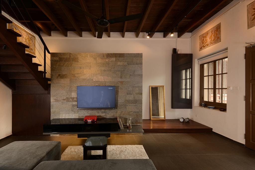 Contemporary, Landed, Living Room, Neil Road, Interior Designer, ISH Interior Design, HDB, Building, Housing, Indoors, Loft, Luggage, Suitcase, Flooring