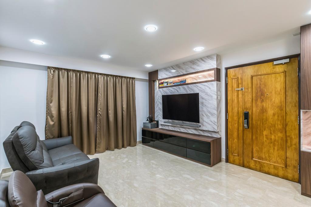 Modern, Condo, Living Room, Sunflower Court, Interior Designer, Summit Design Studio, Couch, Furniture, Chair, Electronics, Entertainment Center, Home Theater