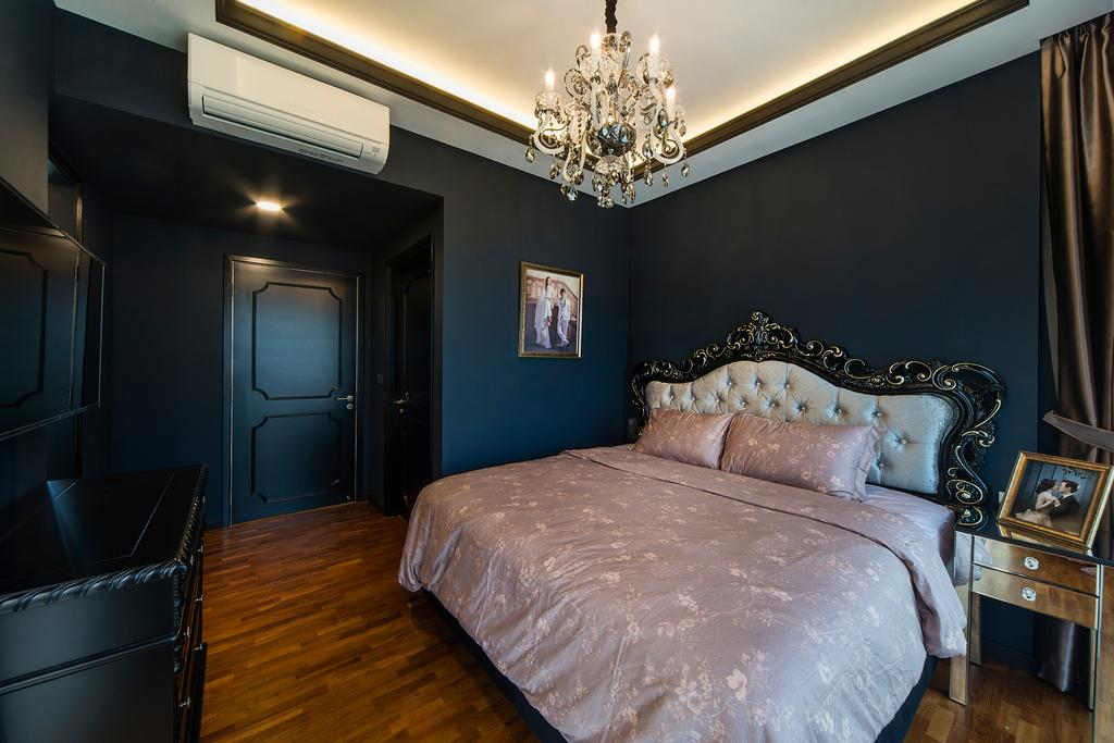 Vintage, Condo, Bedroom, Sea Horizon (Block 4), Interior Designer, Cozy Ideas Interior Design, Bed, Furniture, Indoors, Interior Design, Room, Chandelier, Lamp
