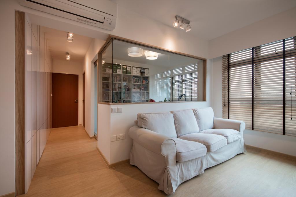 Scandinavian, HDB, Living Room, Jurong West (Block 697A), Interior Designer, Corazon Interior, Corridor, Couch, Furniture