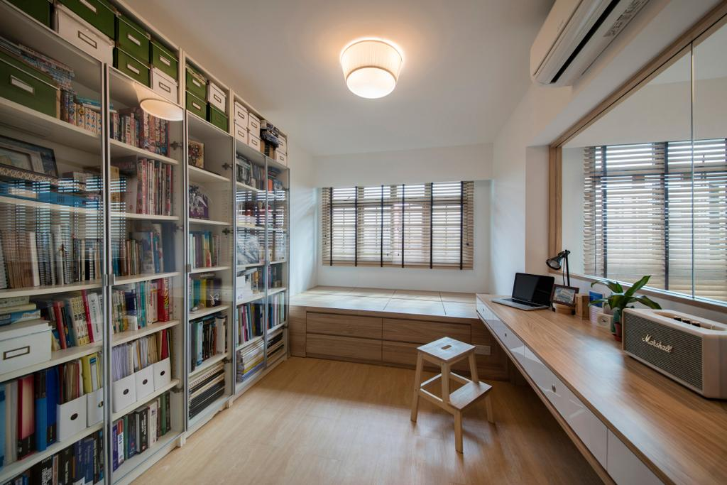 Scandinavian, HDB, Study, Jurong West (Block 697A), Interior Designer, Corazon Interior, Flooring, Bookcase, Furniture