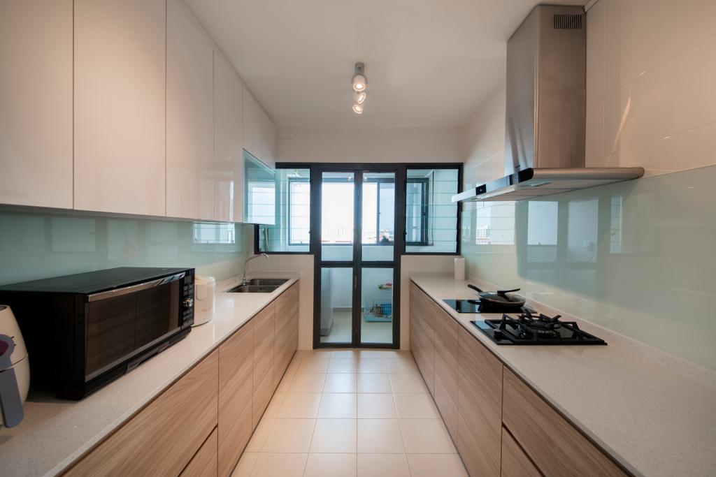 Scandinavian, HDB, Kitchen, Jurong West (Block 697A), Interior Designer, Corazon Interior, Appliance, Electrical Device, Microwave, Oven