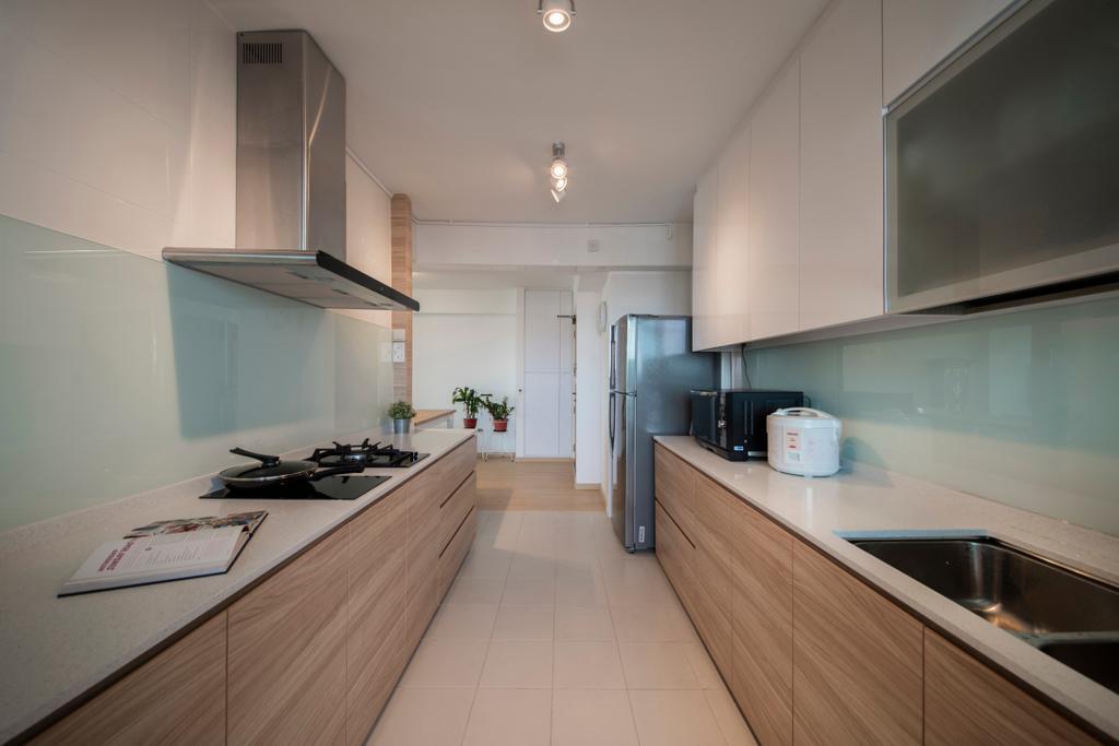 Scandinavian, HDB, Kitchen, Jurong West (Block 697A), Interior Designer, Corazon Interior, Flooring, Indoors, Interior Design, Room