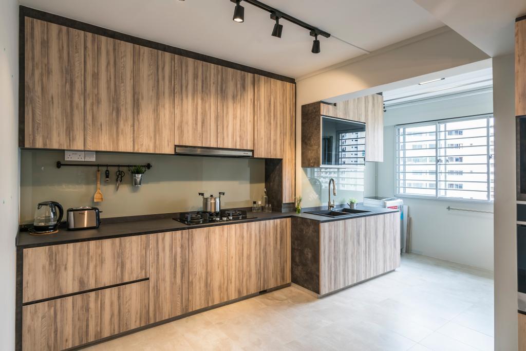 Contemporary, HDB, Kitchen, Upper Serangoon Central (Block 419), Interior Designer, Summit Design Studio, Scandinavian, Indoors, Interior Design, Room, Flooring