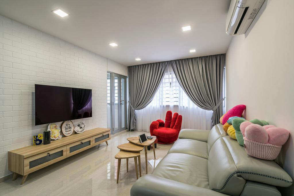 Contemporary, HDB, Living Room, Upper Serangoon Central (Block 419), Interior Designer, Summit Design Studio, Scandinavian, Fireplace, Hearth, Dining Table, Furniture, Table, Chair, Indoors, Room