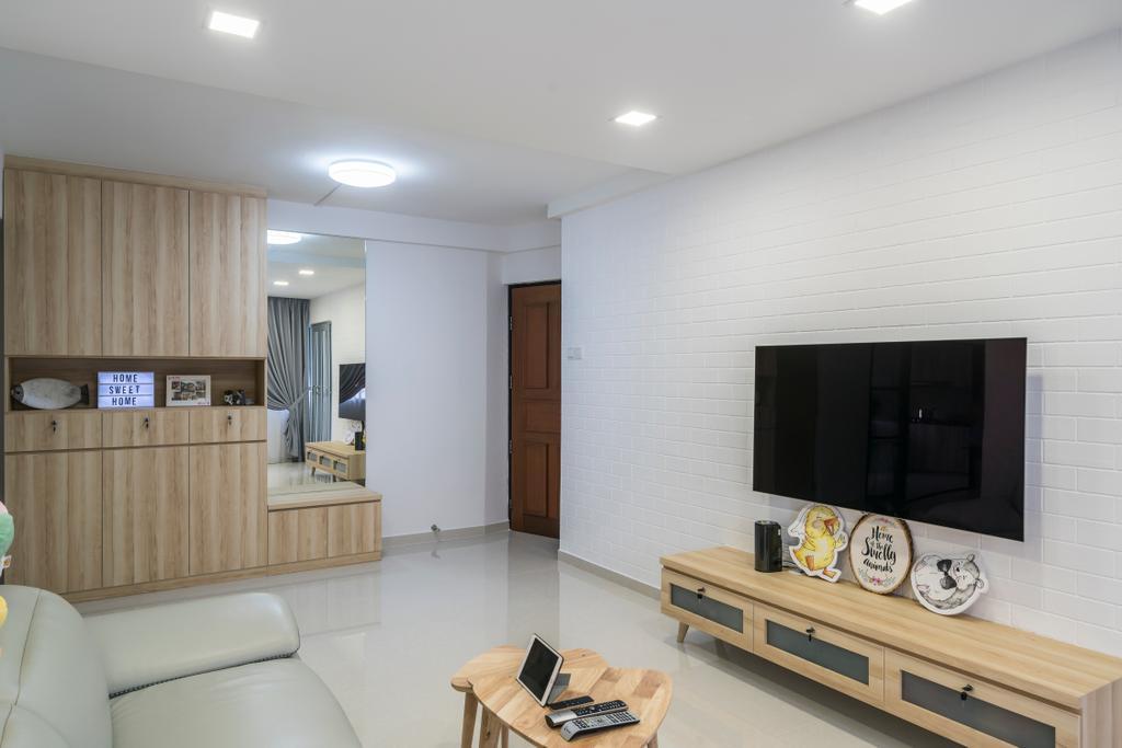 Contemporary, HDB, Living Room, Upper Serangoon Central (Block 419), Interior Designer, Summit Design Studio, Scandinavian, Basement, Indoors, Room