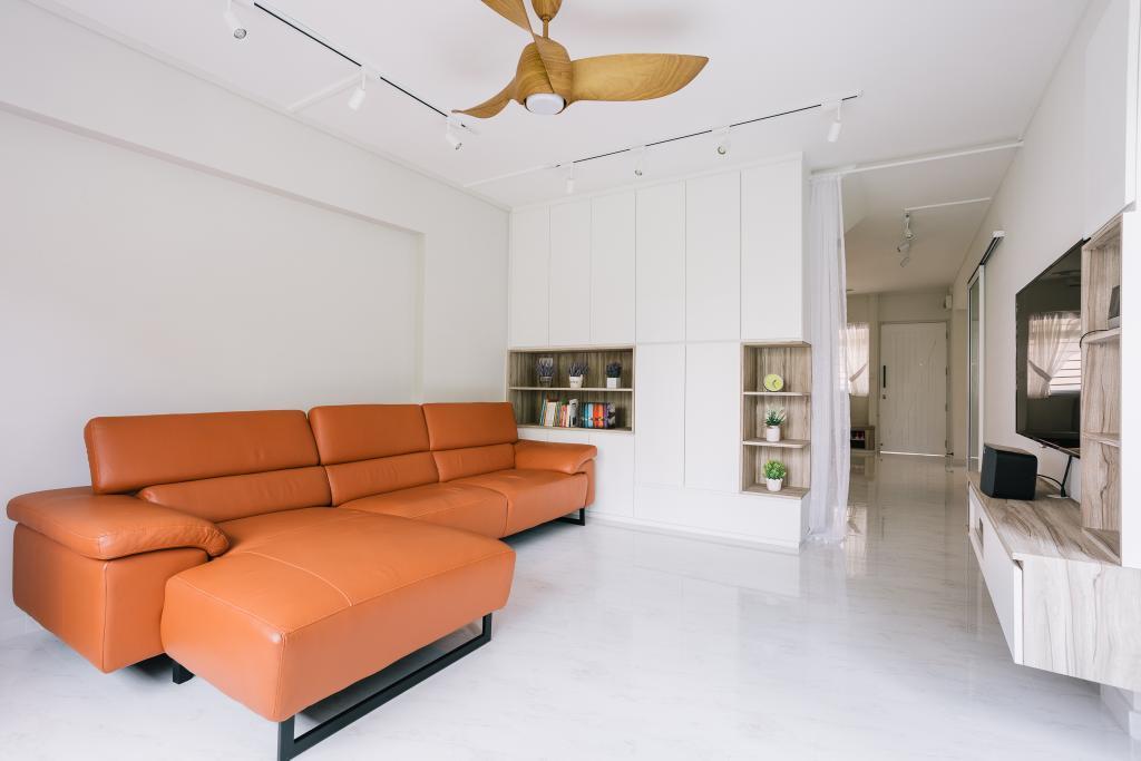 Modern, HDB, Living Room, Bishan Street 22, Interior Designer, Liid Studio, Maisonette, Furniture, Ottoman, Indoors, Interior Design, Couch