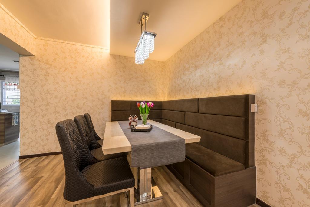 Vintage, HDB, Dining Room, Yishun Street 61 (Block 605), Interior Designer, Project Guru, Chair, Furniture, Indoors, Interior Design, Room, Dining Table, Table, Flora, Jar, Plant, Potted Plant, Pottery, Vase