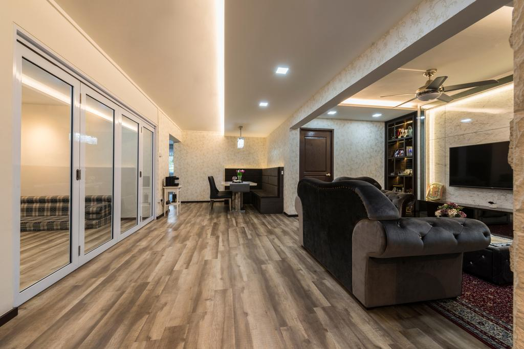 Vintage, HDB, Living Room, Yishun Street 61 (Block 605), Interior Designer, Project Guru, Couch, Furniture, Building, Housing, Indoors, Loft, Chair, Fireplace, Hearth, Hardwood, Wood