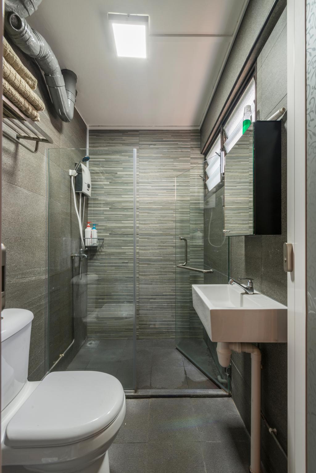 Vintage, HDB, Bathroom, Yishun Street 61 (Block 605), Interior Designer, Project Guru, Sink, Indoors, Interior Design, Room, Siding