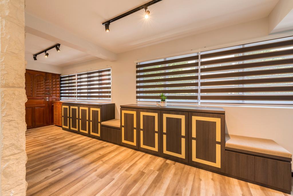 Vintage, HDB, Living Room, Yishun Street 61 (Block 605), Interior Designer, Project Guru, Hardwood, Wood