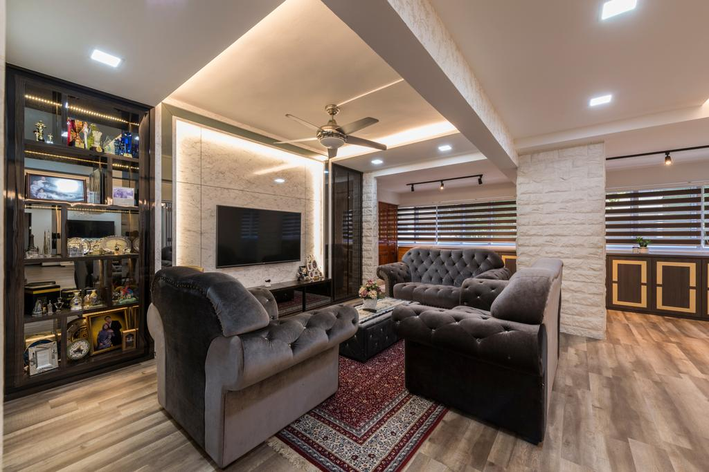 Vintage, HDB, Living Room, Yishun Street 61 (Block 605), Interior Designer, Project Guru, Couch, Furniture, Indoors, Interior Design, Fireplace, Hearth
