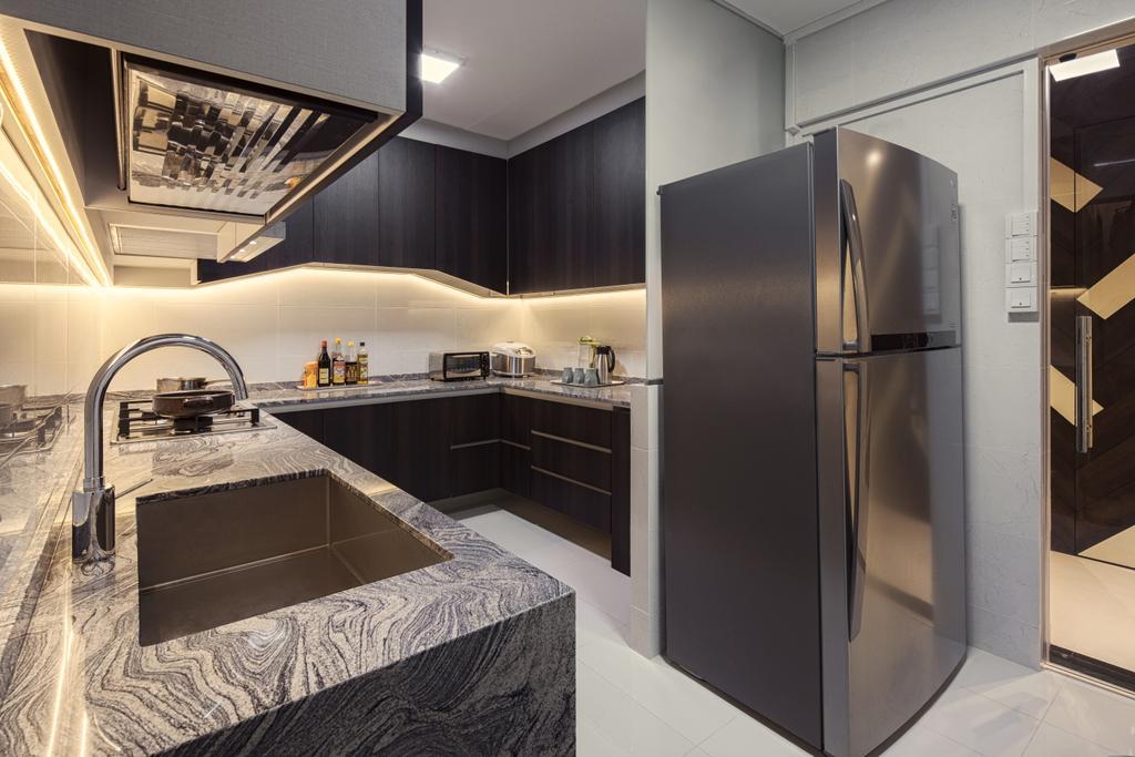 Modern, HDB, Kitchen, Bukit Batok East Ave 3 (Block 223), Interior Designer, Zenith Arc, Minimalistic, Appliance, Electrical Device, Fridge, Refrigerator, Indoors, Interior Design