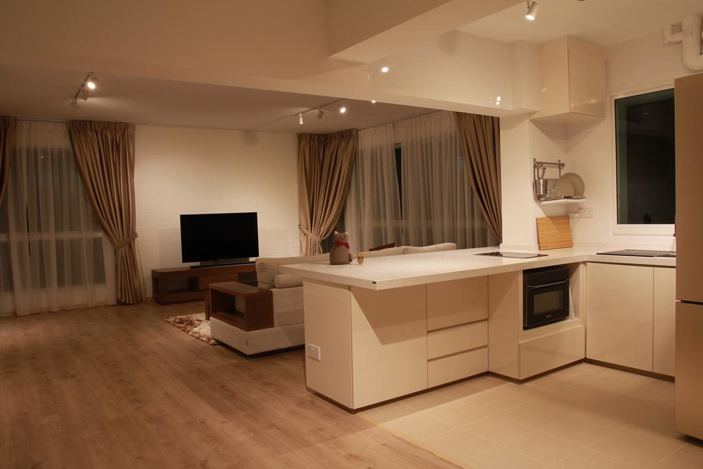 Modern, HDB, Kitchen, Punggol Sapphire, Interior Designer, Mesh Room Design, Electronics, Monitor, Screen, Tv, Television, Couch, Furniture, Indoors, Interior Design